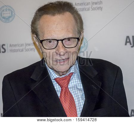 New York NY USA - December 1 2016: American television and radio host Larry King attends AJHS Emma Lazarus Statue of Liberty Award Dinner at The Roosevelt Hotel Manhattan