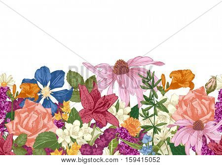 Hand drawn colorful seamless floral border