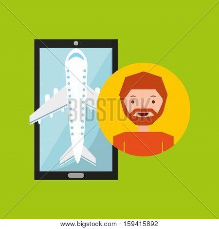 hand holds man beard mobile application travel airport vector illustration eps 10