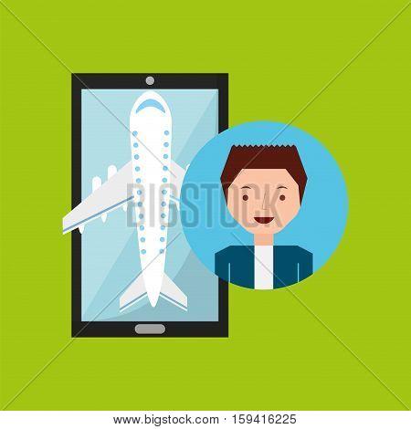 guy hand holds mobile application travel airport vector illustration eps 10