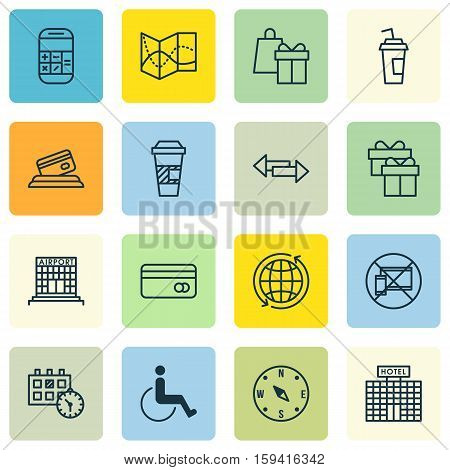 Set Of Airport Icons On Hotel Construction, Crossroad And Airport Construction Topics. Editable Vector Illustration. Includes Card, Present, Takeaway And More Vector Icons.