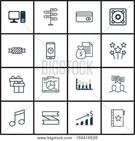 Set Of 16 Universal Editable Icons. Can Be Used For Web, Mobile And App Design. Includes Icons Such As Segmented Bar Graph, Plastic Card, Music And More.