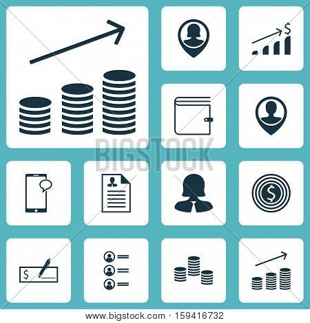 Set Of Hr Icons On Business Woman, Pin Employee And Business Goal Topics. Editable Vector Illustration. Includes Increase, Profile, Purse And More Vector Icons.