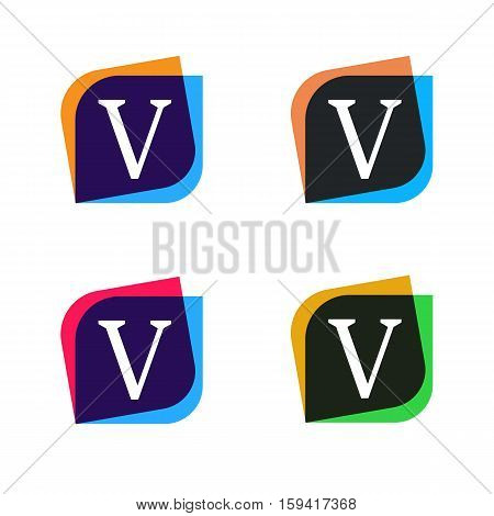 Abstract shape element company logo sign icon vector design. V letter logotype