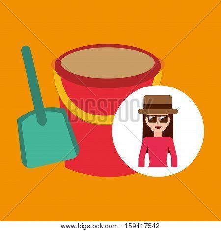 toursit female hat sunglasses bucket shovel sand vector illustration eps 10