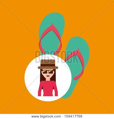 toursit female hat sunglasses flip flops vector illustration eps 10