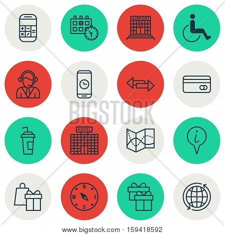 Set Of Travel Icons On Hotel Construction, Call Duration And Calculation Topics. Editable Vector Illustration. Includes World, Map, Card And More Vector Icons.