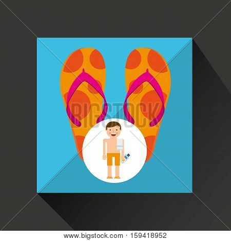 man shorts towel beach vacations sandals beach vector illustration eps 10