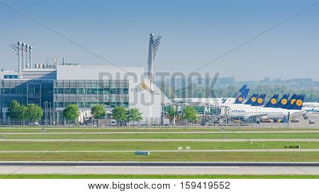 Munich Germany - May 6 2016: Munich Airport serves as the secondary hub for Lufthansa including Lufthansa Regional and its Star Alliance partners.