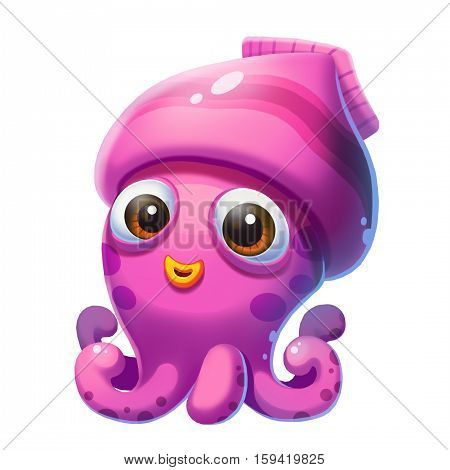 Little Squid in the Sea isolated on White Background! Video Game's Digital CG Artwork, Concept Illustration, Realistic Cartoon Style Background and Character Design