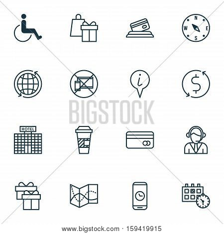 Set Of Transportation Icons On Takeaway Coffee, Forbidden Mobile And Appointment Topics. Editable Vector Illustration. Includes Calendar, Gift, Transfer And More Vector Icons.