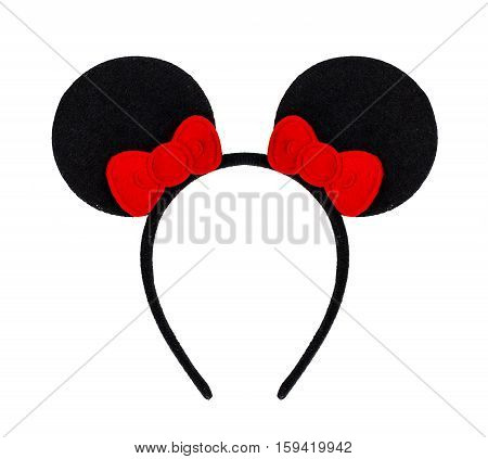 Headband On White Background , Headband Red Bow And Black Ear