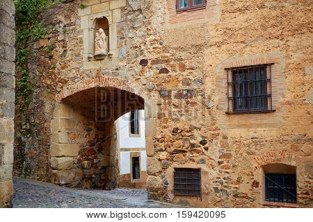 Arco de Santa Ana arch in Caceres of Spain at Extremadura image shot from the public floor