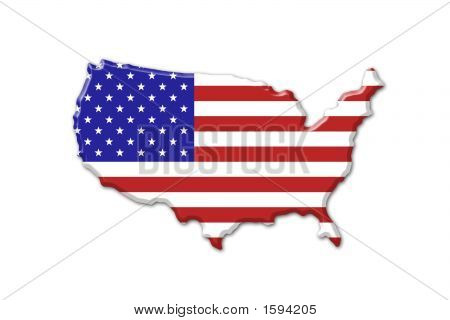 American Karte und Flagge