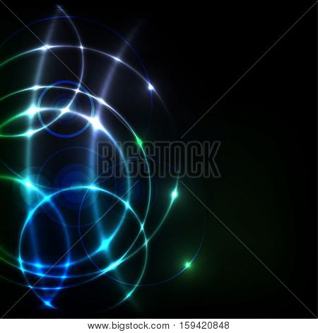 Black background with abstract shiny circles and place for text - vector illustration