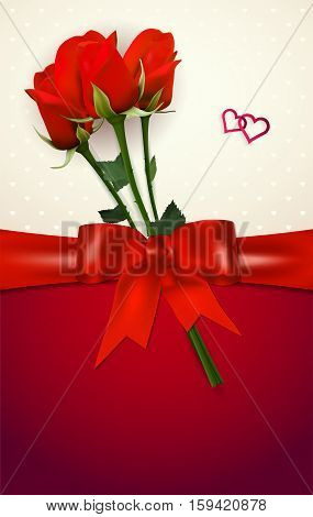 Card with red roses bow hearts and copy space - vector illustration