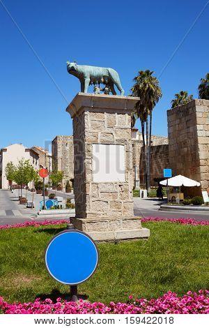 Merida Romulo Remo statue in Spain Badajoz Extremadura