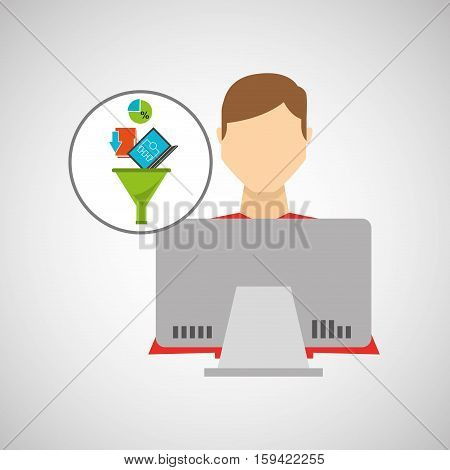 inteligent man working laptop data analytics vector illustration eps 10