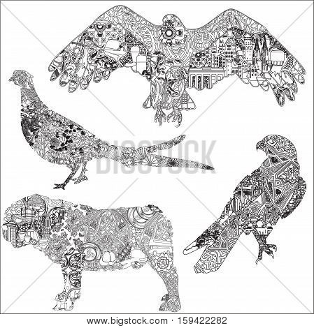 A set of animals with patterns, symbols, ornaments symbolizing a particular country. 4 black and white isolated animals. The dog, hawk, eagle, pheasant.