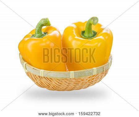 Fresh Yellow Bell Peppers In Basket