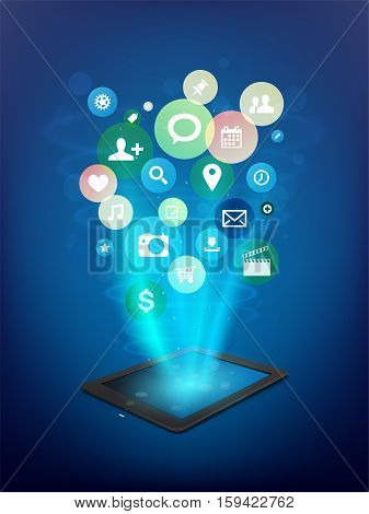 Black Tablet With Abstract Cloud Of Application Icons
