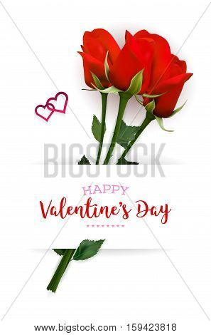 Valentines Day card with red roses hearts and copy space - vector illustration