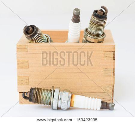Spark Plug In Wood Box