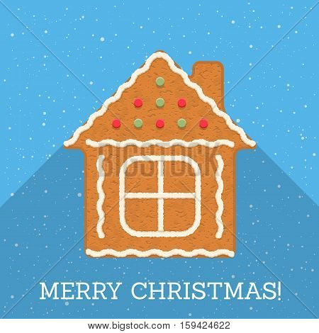 Gingerbread house on blue background with Merry Christmas congratulation, vector eps10 illustration