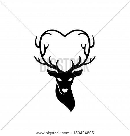 head of deer with antlers love, deer love alters logo concept,