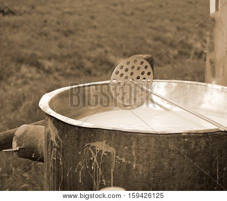 Special Tool To Mix The Rennet Milk In The Copper Cauldron