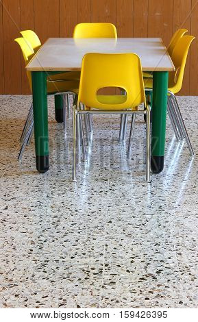 Table And Chairs In The School Classroom