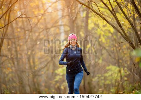 Young girl running in morning