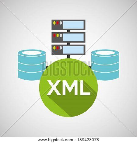 xml language data base storage vector illustration eps 10