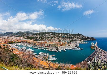 top view of port with yachts in Nice French Riviera France