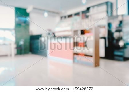 Abstract blurred of restaurant shop pastel background. Party happy with friends at night. Blurry fun dining room. Blur circle bokeh. Counter cafes and coffee service. Food and Beverage Modern.