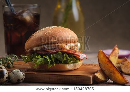Trendy Breakfast Burger With Ham And Eggs