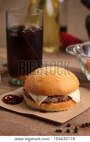 Classic Cheeseburger With Ingredients