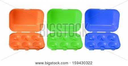 Toy Egg Cartons on Isolated White Background