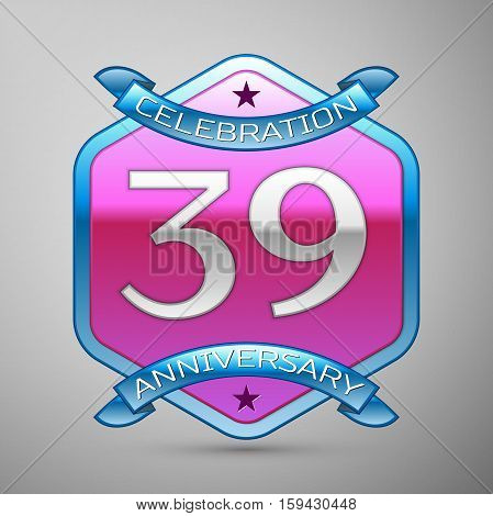 Thirty nine years anniversary celebration silver logo with blue ribbon and purple hexagonal ornament on grey background.