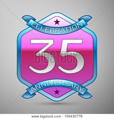 Thirty five years anniversary celebration silver logo with blue ribbon and purple hexagonal ornament on grey background.