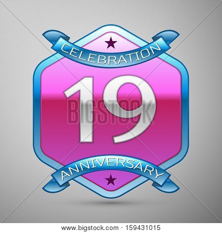 Nineteen years anniversary celebration silver logo with blue ribbon and purple hexagonal ornament on grey background.