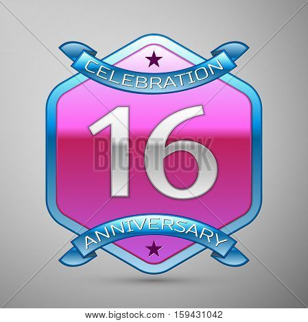 Sixteen years anniversary celebration silver logo with blue ribbon and purple hexagonal ornament on grey background.