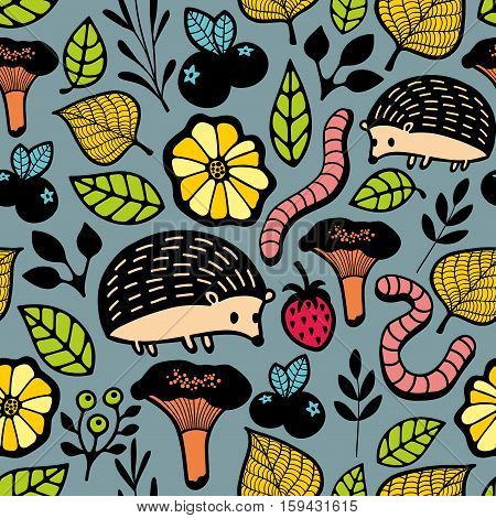 Endless background with floral elements and wild animals. Seamless pattern in vector.