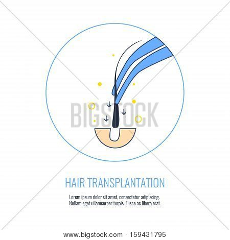 Hair transplant treatment symbol. Alopecia medical procedure. Hair loss treatment, diagnosis and transplantation concept. Vector illustration for hair clinics and diagnostic centers.