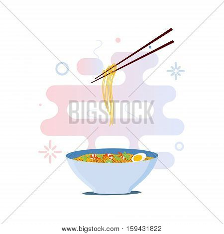 Chinese noodles and chopsticks vector illustration. Bowl of noodles with shrimps, eggs and parsley on white background.