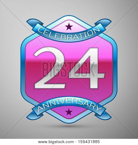 Twenty four years anniversary celebration silver logo with blue ribbon and purple hexagonal ornament on grey background.
