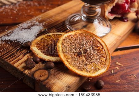 Slices Of Dried Orange With Sugar