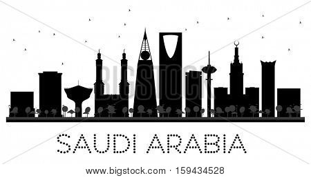 Saudi Arabia skyline black and white silhouette. Simple flat concept for tourism presentation, banner, placard or web site. Business travel concept. Cityscape with landmarks