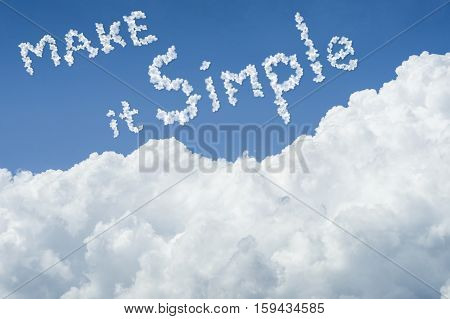 Beautiful Blue Sky And White Cloud. Sunny Day.cloudscape.close Up The Cloud.text Make It Simple.get