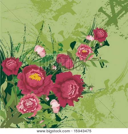 Floral background with a bunch of red flowers and grunge details, vector illustration series.